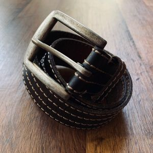 Lucky Brand Men's Black Leather Belt Size 34